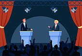 Two politicians taking part in political debates