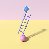Abstract poster style with colorful geometric elements. Ladder, cube and ball balance. 3D rendering objects shape. Minimal