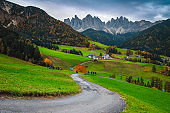 Majestic alpine autumn landscape with spectacular mountains, Dolomites, Italy