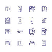 Financial documents line icon set. Invoice, check, business