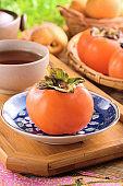 Ripe orange persimmon fruit