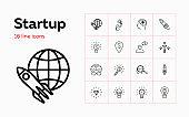Startup line icon set