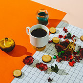 Cup of coffee espresso or cappuccino, cinnamon, wooden cuts, colorful petals and leaves, mushroom and green candle on vibrant orange, soft pink, blue and white background. Fall concept. Fashion stylish and trendy autumn decor composition.