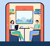 Happy people traveling by train