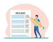 Tiny man preparing resume for new work search
