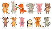 Happy funny cartoon animals set