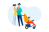 New parents walking with child in pram