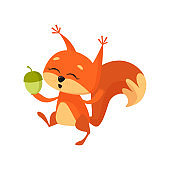 Cheerful cute squirrel holding nut and dancing
