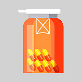 Jar with pills. Transparent container