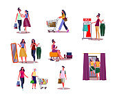 Set of women shopping