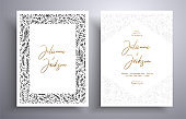 Elegant invitation with frame of leaves and flowers. Botanical template with space for your text. Beautiful cards that can be used for design cover, invitation, greeting cards, brochure and etc.