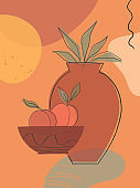 Artistic modern vector illustration with vases,leaves,organic shapes and peaches