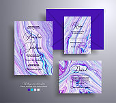 Modern set of wedding invitations with stone texture. Agate vector covers with marble effect and place for text, blue, lavender and white colors. Designed for greeting cards, brochures and etc.