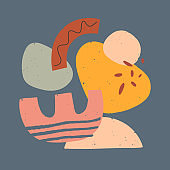 Modern vector illustration with hand drawn organic shapes,textures and graphic elements