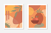 Set of artistic modern vector illustrations with vase,leaves,organic shapes and peaches