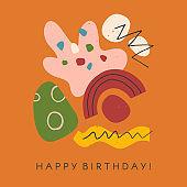 Creative universal artistic card - happy birthday