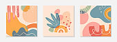 Bundle of modern vector collages with hand drawn organic shapes,textures and graphic elements