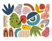 Bundle of vector colorful hand drawn organic shapes,doodles,elements and textures