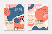 Set of modern colorful vector collages with hand drawn organic shapes and textures
