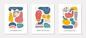 Set of creative universal artistic cards.Modern vector illustrations