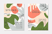 Set of spring vector collages with hand drawn organic shapes and textures in pastel colors
