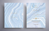 Vector wedding invitation with marble pattern. Gray, blue and white overflowing colors. Beautiful cards that can be used for design cover, invitation, greeting cards, brochure and etc.