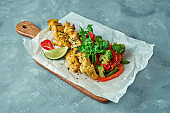 Healthy food - Asian style baked chicken with steamed vegetable salad