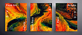 Abstract acrylic placard, fluid art vector texture set. Artistic background that can be used for design cover, poster, brochure and etc. Orange, green and black unusual creative surface template.