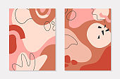 Set of modern vector illustrations with hand drawn organic shapes and textures in pastel colors