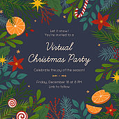 Christmas and Happy New Year virtual party invitation template during covid 19