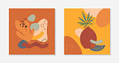 Set of art modern vector illustrations with vase,leaves,organic shapes and elements