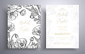 Golden invitation with frame of leaves and flowers. Botanical template with space for your text. Beautiful cards that can be used for design cover, invitation, greeting cards, brochure and etc.