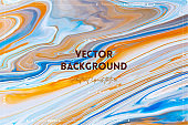 Fluid art texture. Background with abstract mixing paint effect. Liquid acrylic picture with flows and splashes. Mixed paints for background or poster. Blue, orange and white overflowing colors.