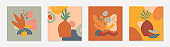 Bundle of art modern vector illustrations with vases,leaves,organic shapes and elements