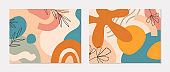 Set of modern vector collages with hand drawn organic shapes,textures and graphic elements