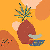 Artistic modern vector illustration with vase,leaves,organic shapes and graphic elements