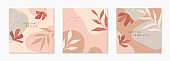 Bundle of modern vector illustrations with hand drawn organic shapes,textures and flowers