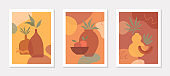 Bundle of art modern vector illustrations with vases,leaves,organic shapes and peaches