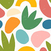 Seamless pattern with colorful hand drawn organic shapes,lines,doodles and elements