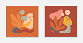 Set of artistic modern vector illustration with vases,leaves,organic shapes,graphic elements.