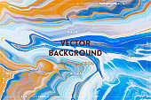 Fluid art texture. Abstract backdrop with swirling paint effect. Liquid acrylic artwork with flows and splashes. Mixed paints for posters or wallpapers. Blue, orange and navy blue overflowing colors.
