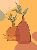 Artistic modern vector illustration with vases,leaves,organic shapes and graphic elements