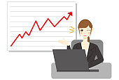 Businesswoman using computer.  Stock arrow up rate increase price value finance.