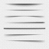 Vector realistic shadows.Vector set of transparent realistic shadow.
