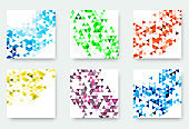 Vector banners collection with abstract multicolored triangle mosaic backgrounds. Modern geometric patterns. Business design abstract templates.