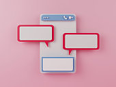 Chat application on pink background.