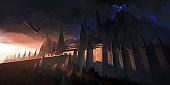 Eerie dark castle, digital illustration.