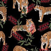 Exotic animal tiger in the jungle pattern black background illustration seamless pattern. Trendy composition with exotic red flowers, beach wallpaper.