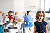 Portrait of small girls with face mask, coronavirus, covid-19 and vaccination concept.