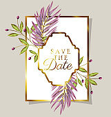 invitation letter with purple leaves decoration on a gray background